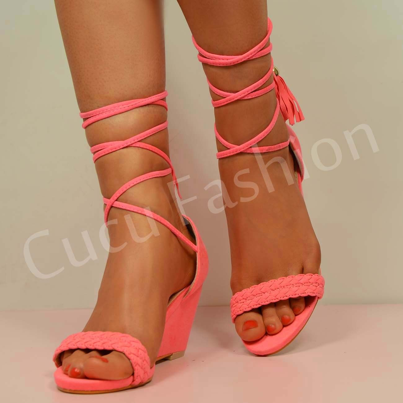 New Womens Lace Up Wedge Low Heel Ladies Ankle Strap