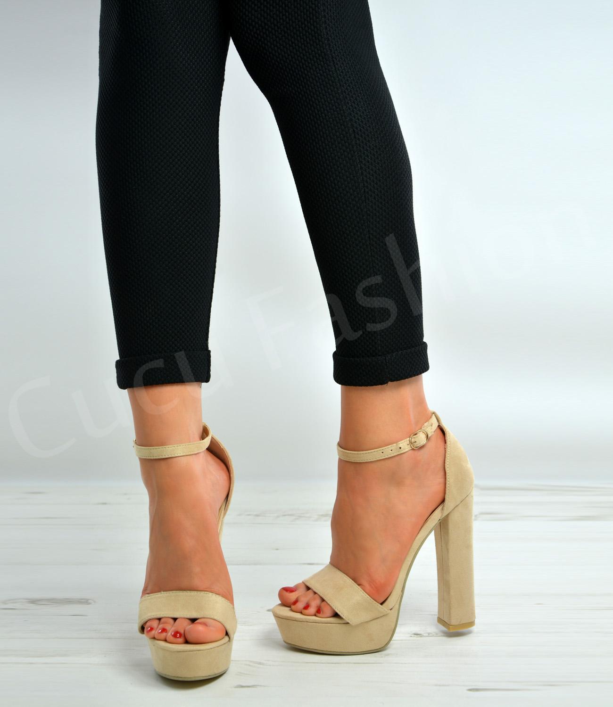 Womens Ladies Platform High Block Heel Strappy Sandals Ankle Strap ...