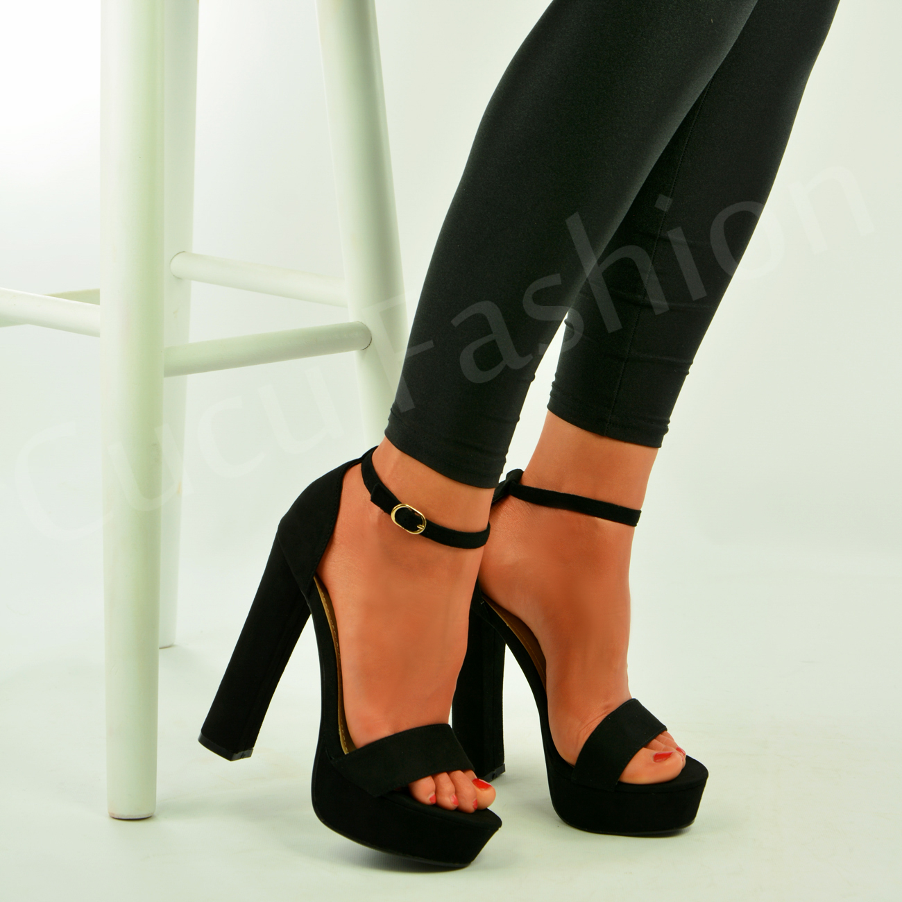 Womens Ladies Platform High Block Heel Strappy Sandals Ankle Strap ...