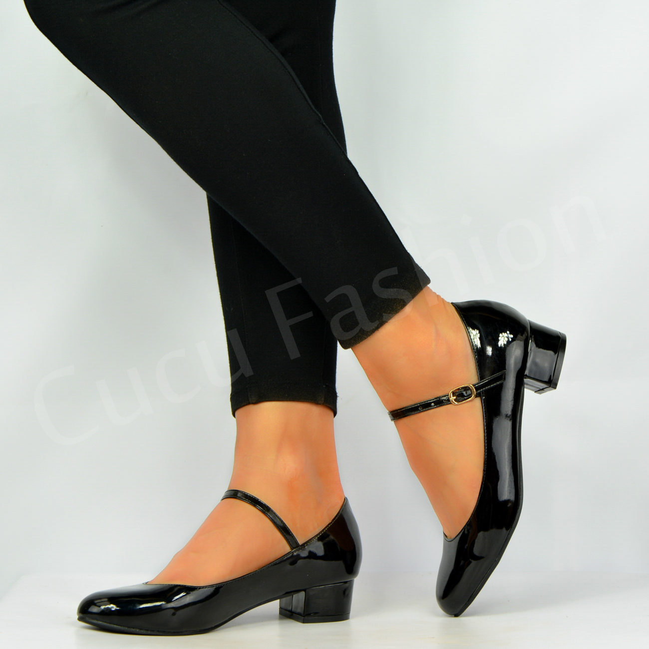 new womens low mid block heel slip on pumps patent