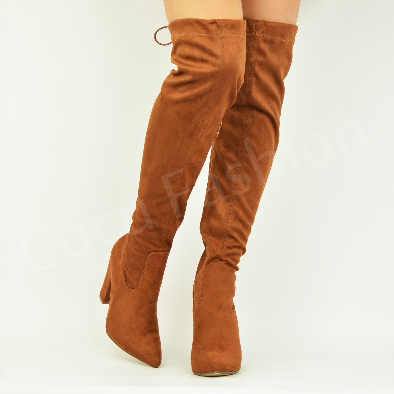 New-Womens-Ladies-Over-The-Knee-Side-Zip-Boots-High-Block-Heel-Shoes-Size-Uk-3-8