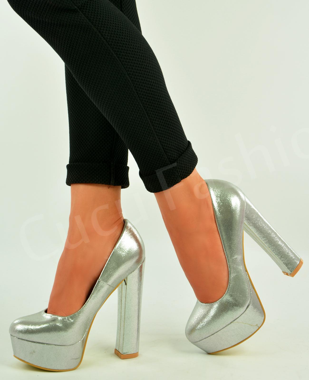 new womens platform pumps high block heel slip on