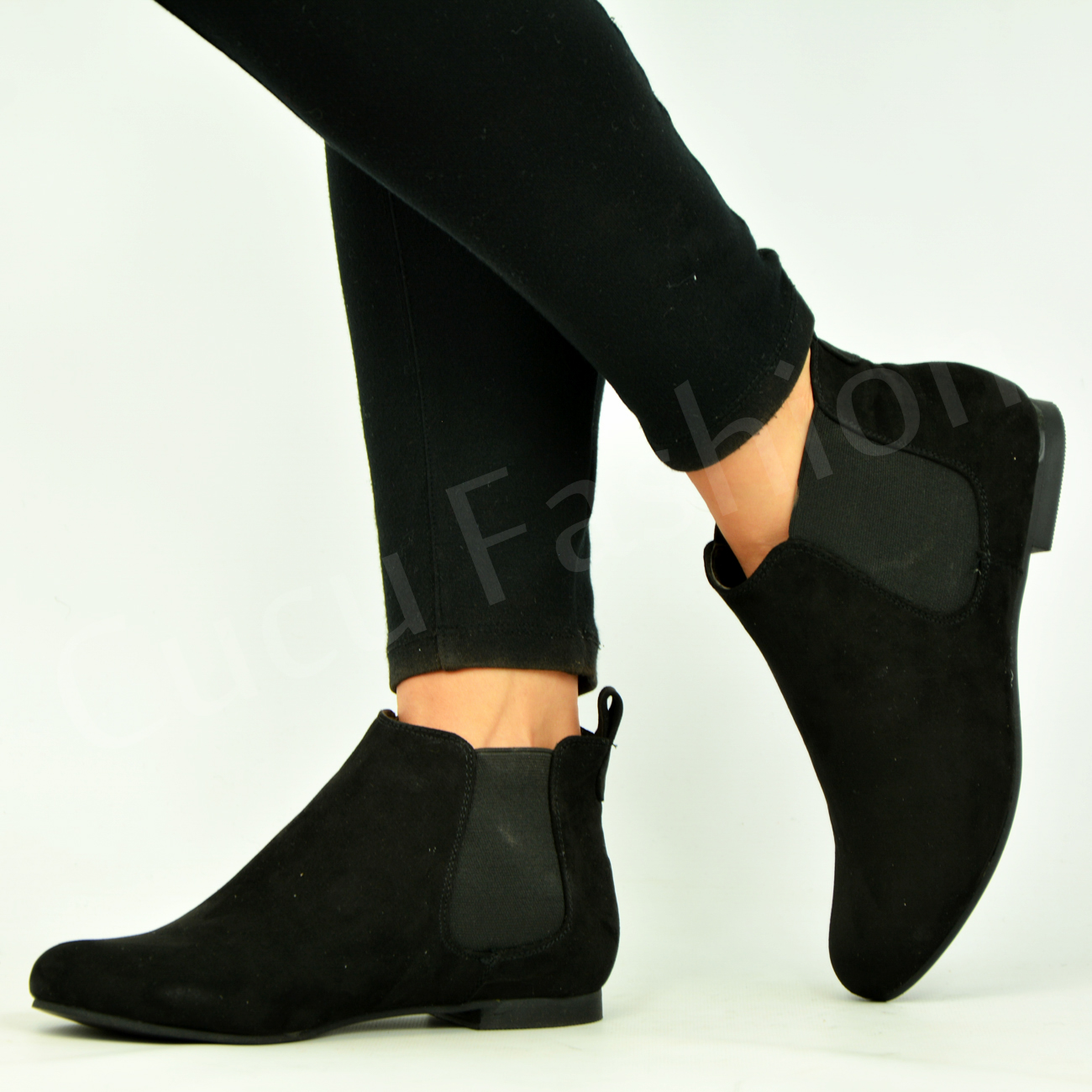 new womens pull on low heel chelsea ankle boots