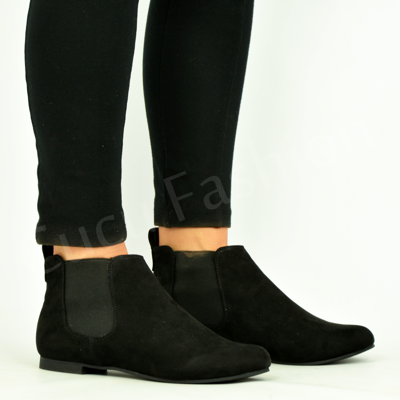 Women's Chelsea Leather Pull-On Low Wedge Ankle Bootie Boot