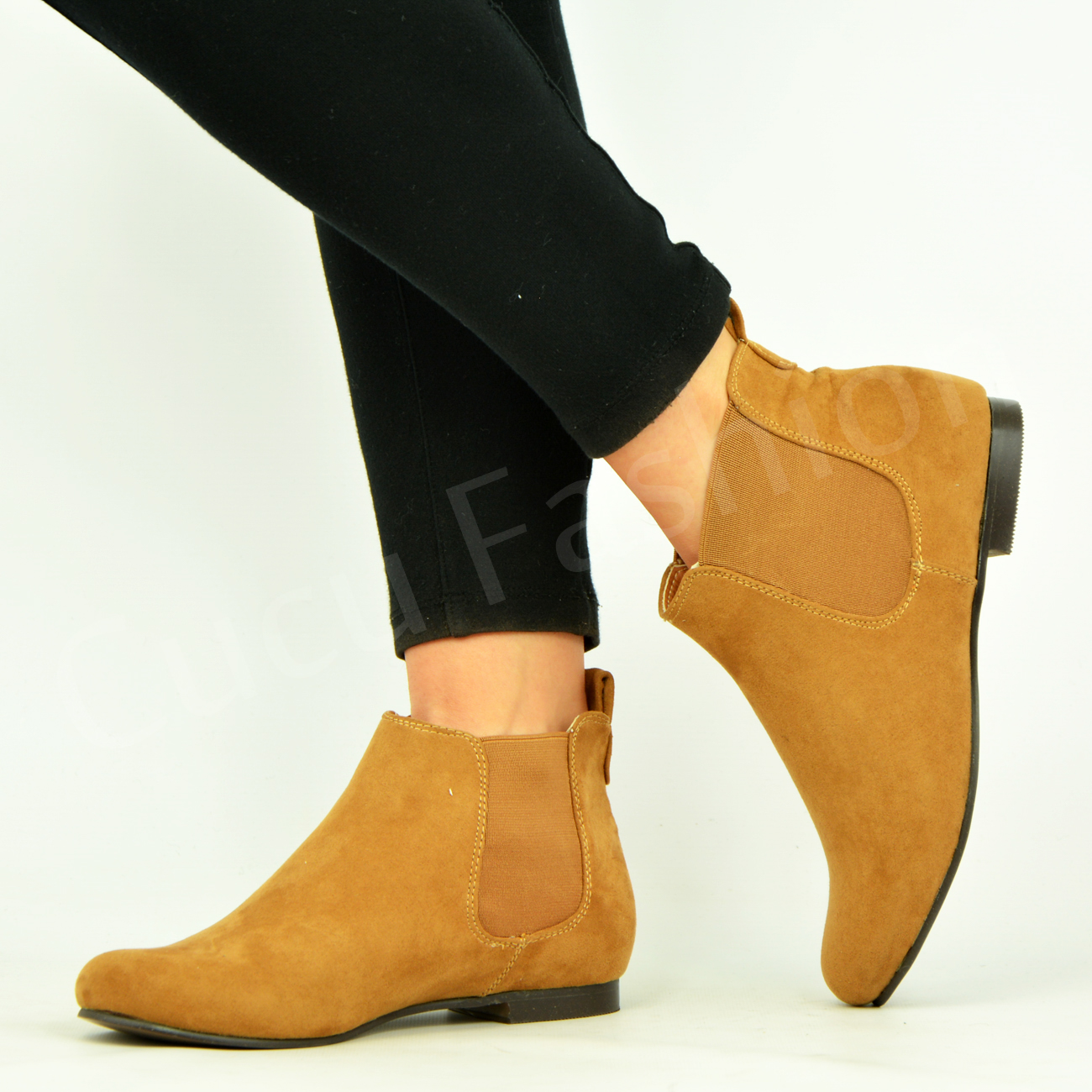 Women's Slip On Low Heel Suede Chelsea Ankle Boots