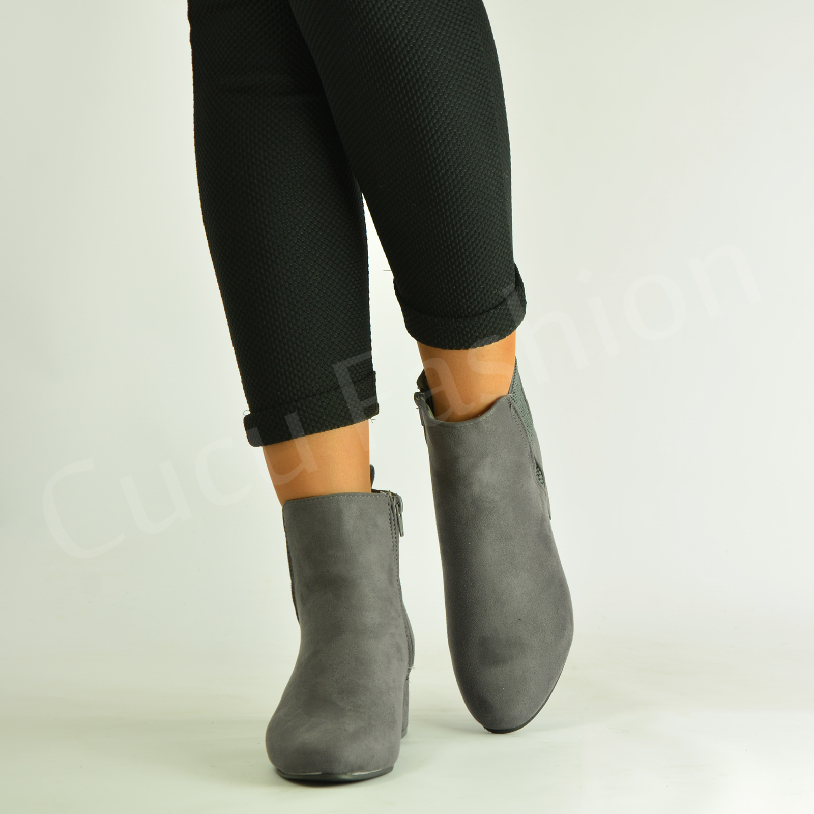 New-Womens-Ladies-Low-Block-Heel-Ankle-Boots-Zip-Winter-Casual-Shoes-Size-Uk-3-8