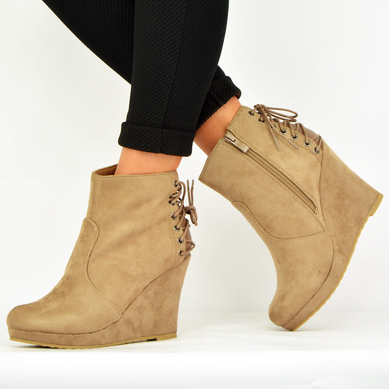 new womens wedge ankle boots back lace side zip