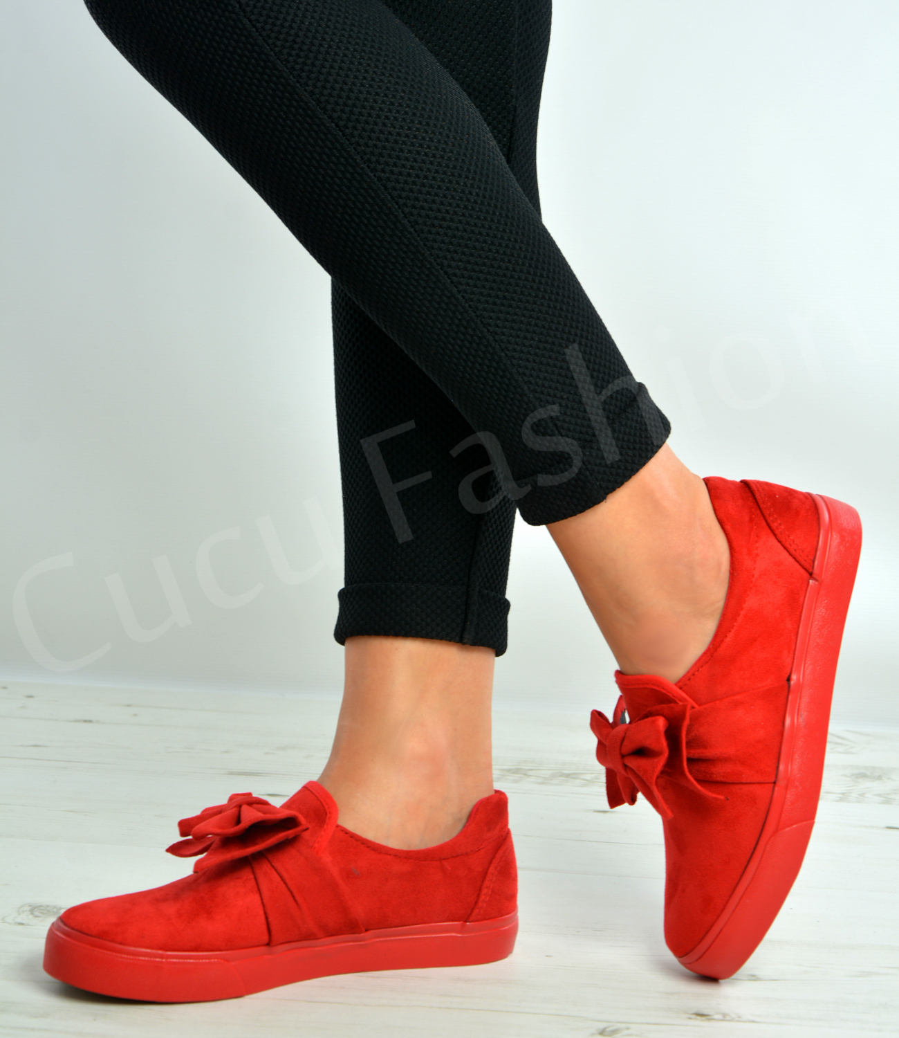 new womens bow trainers slip on flat sneakers