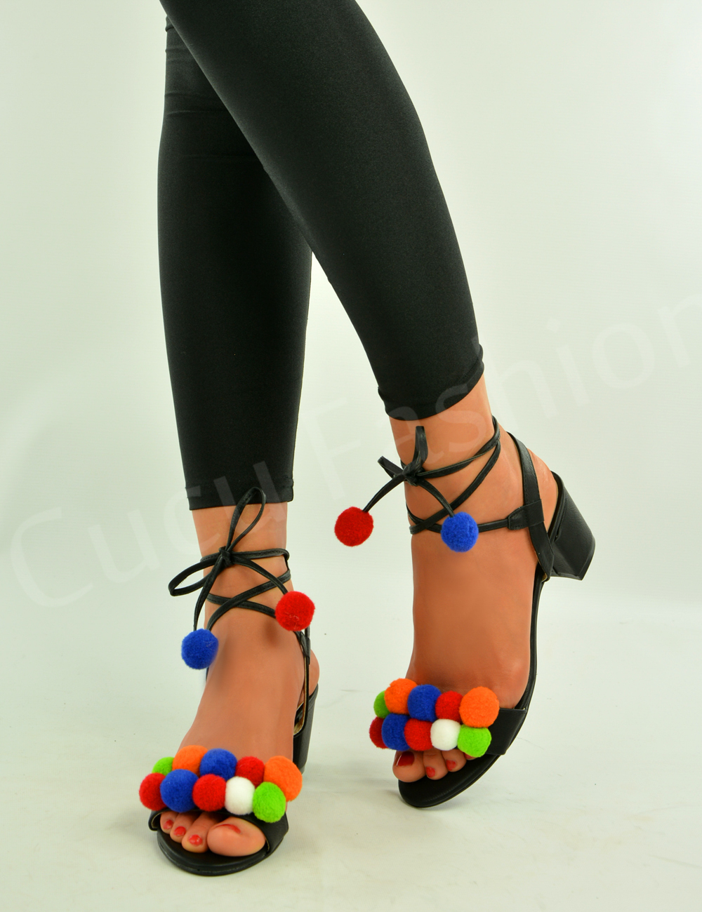 Ladies Black Shoes With Pom Poms On