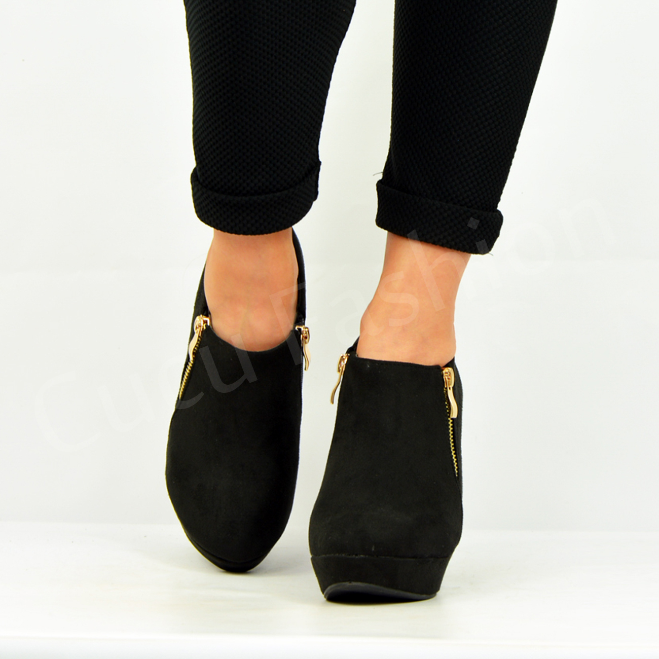 new womens ankle boots wedge platforms side zip