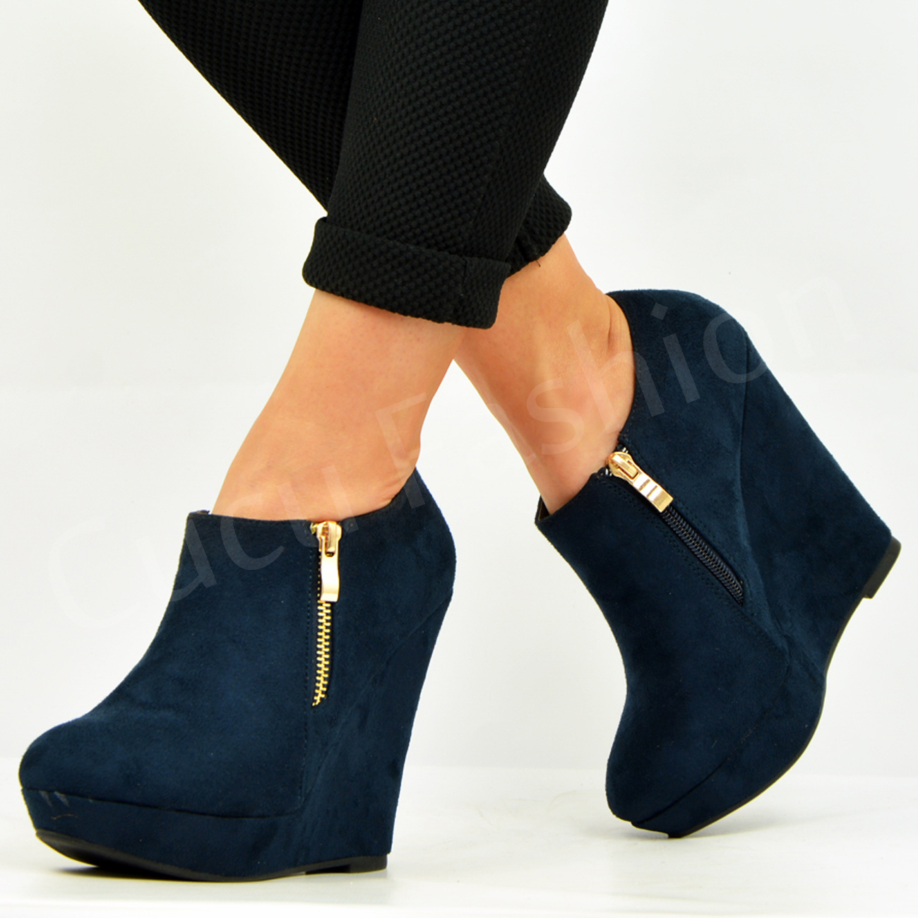 New Womens Ankle Boots Ladies Wedge Platforms Side Zip ...
