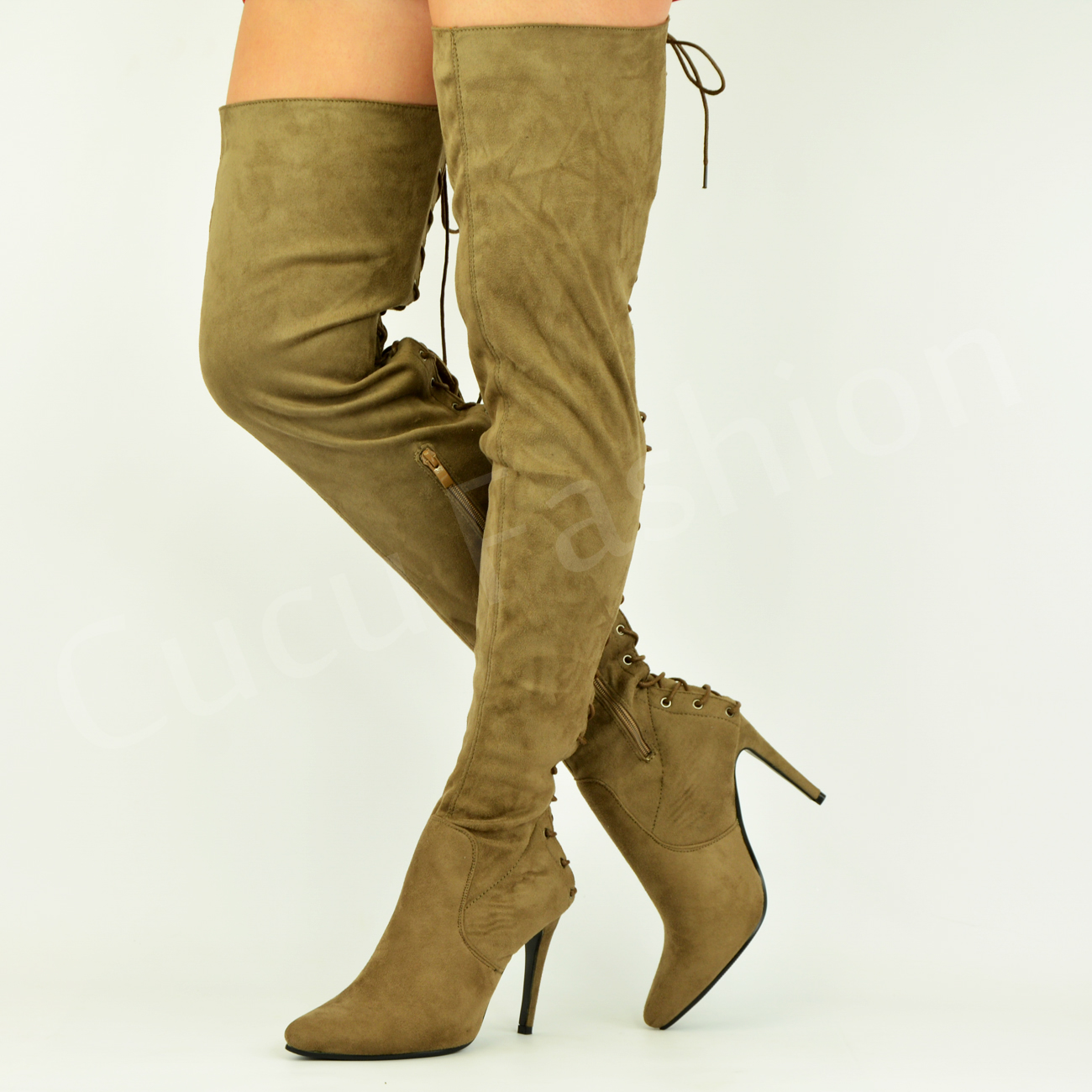 New-Womens-Over-The-Knee-Thigh-High-Boots-Back-Lace-Pointed-Stiletto-Shoes-Size