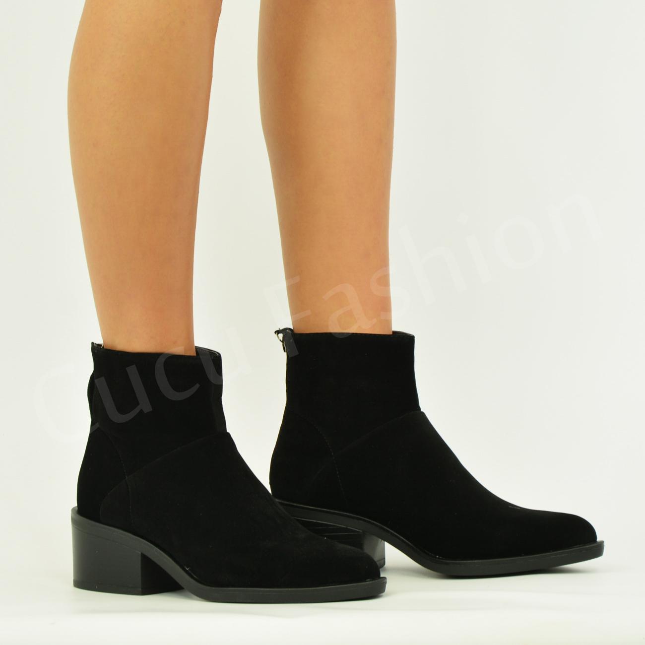 new womens ankle boots block heel back zip booties