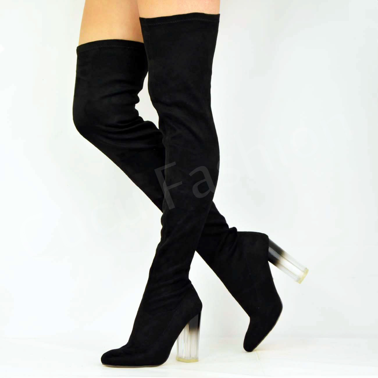 Womens High Block Clear Heel Over The Knee Boots Ladies Thigh High ...