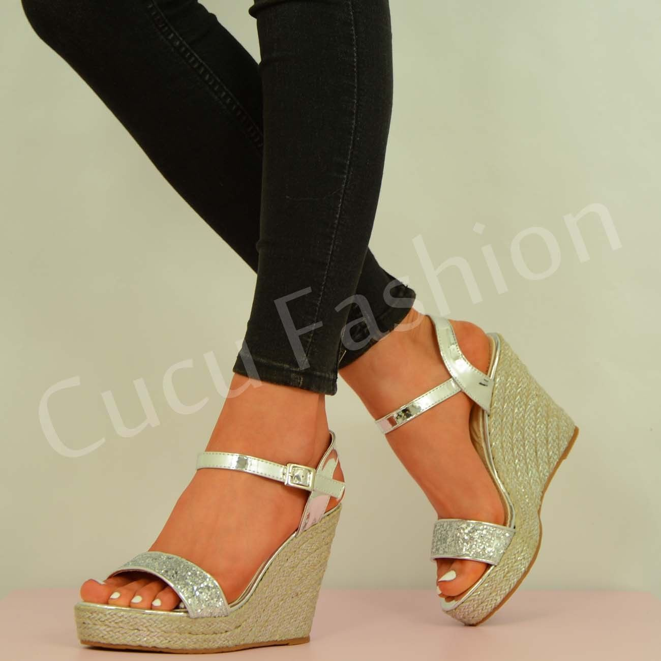 new womens glitter wedges high heel ankle