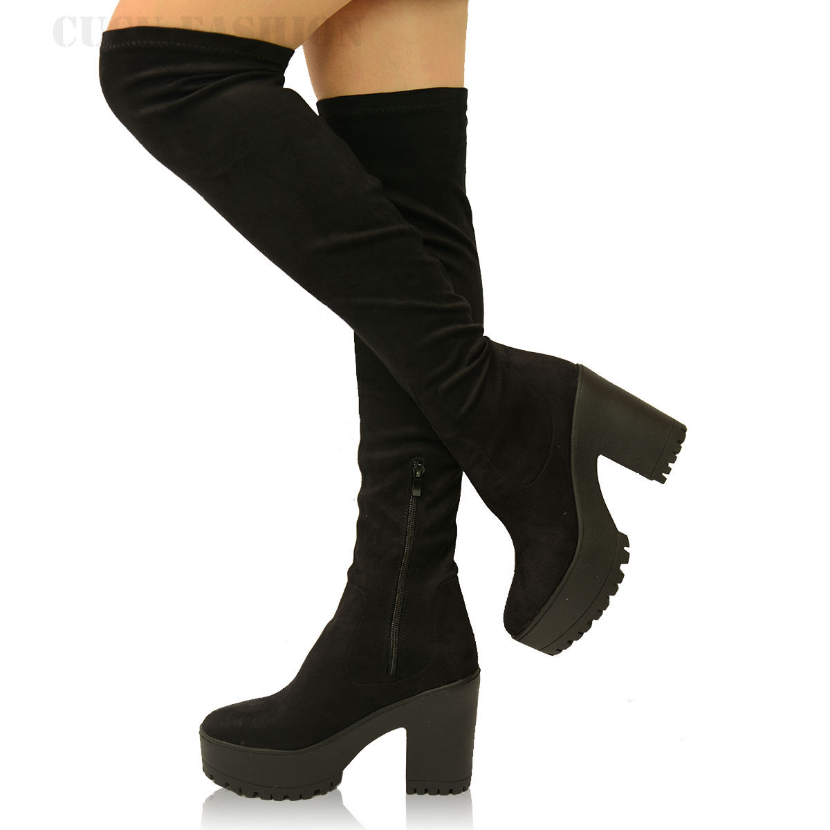 Womens Stretch Over the Knee Boots Ladies Block Chunky High Heel Platforms Size