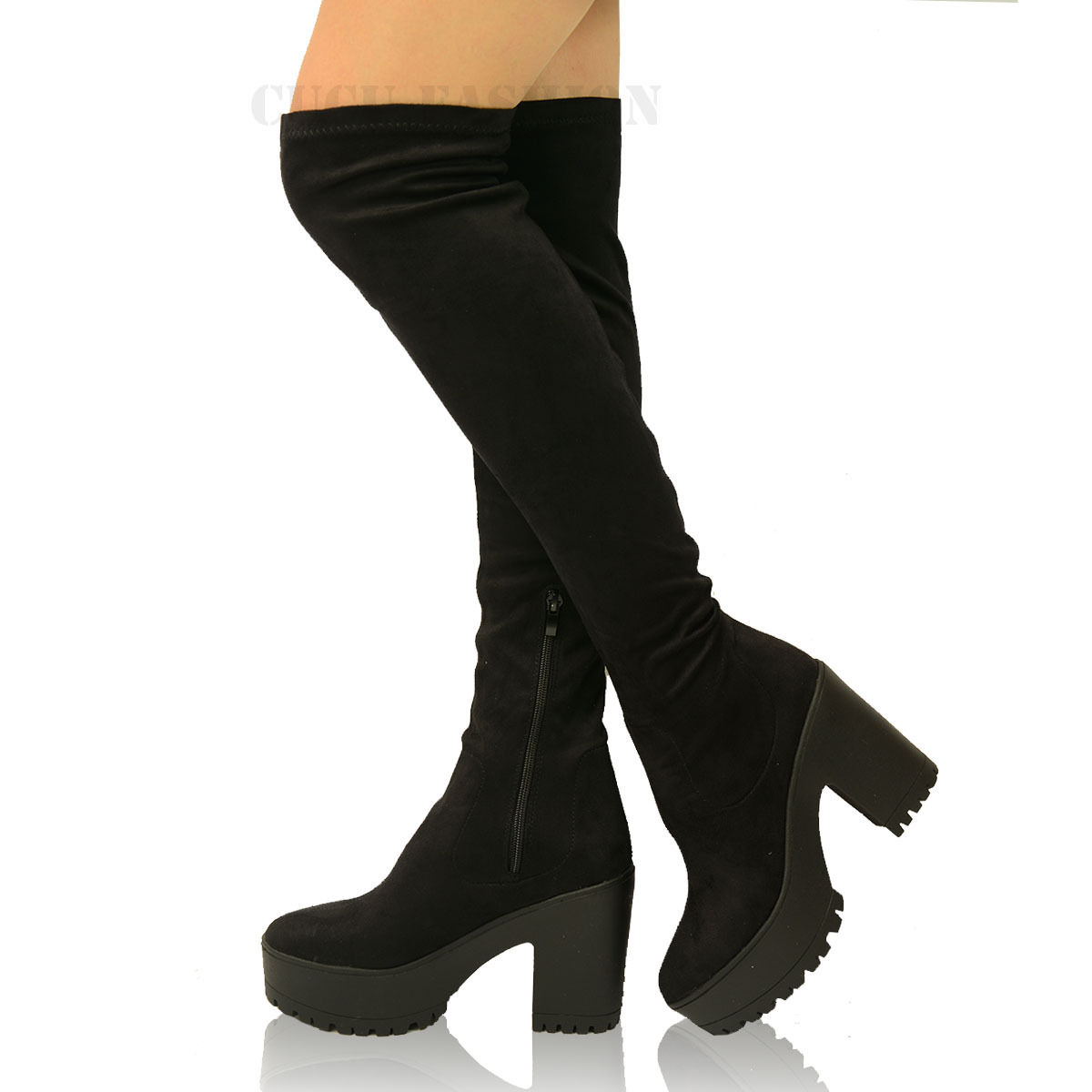 womens stretch the knee boots block chunky