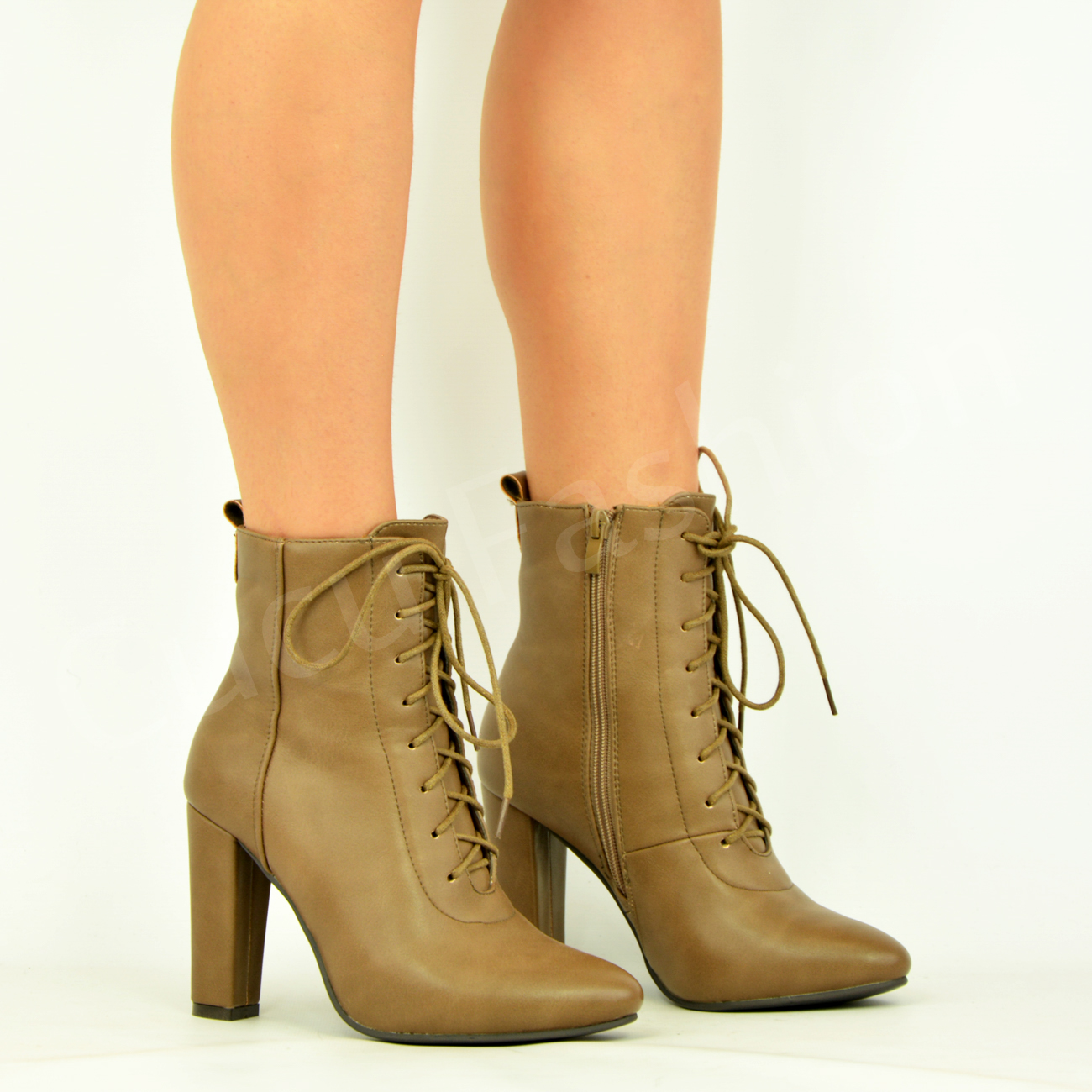 new womens lace up ankle boots block high heel zip
