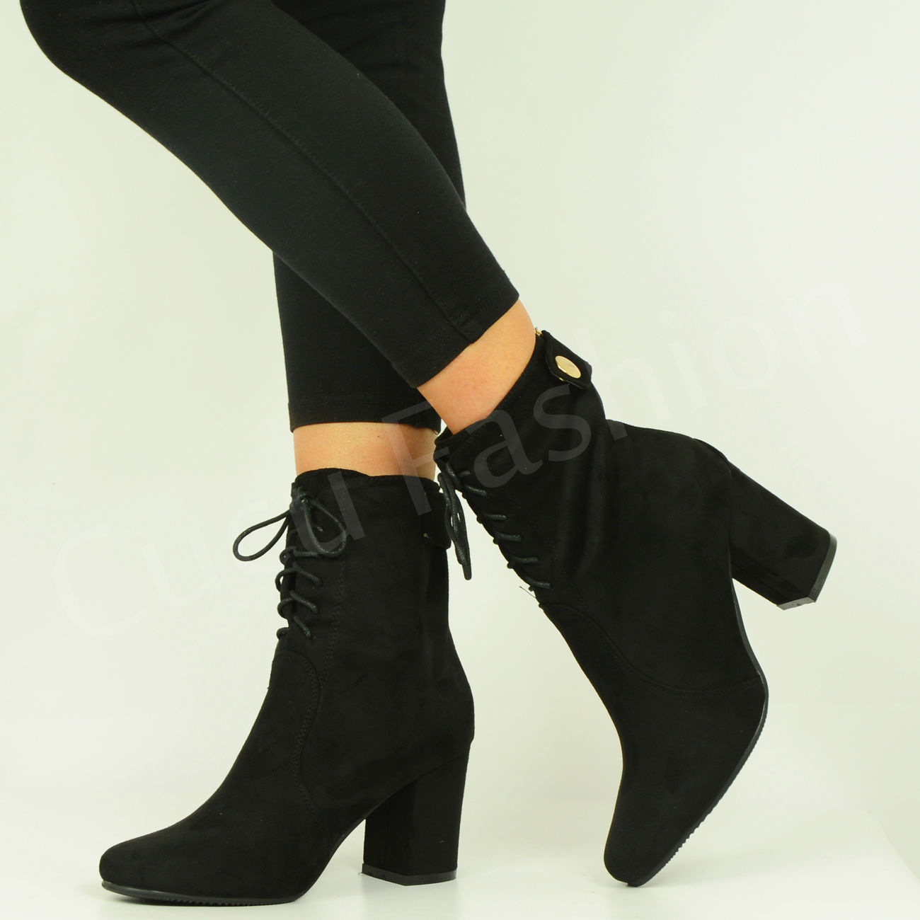 brand new womens ankle boots mid block heel lace up