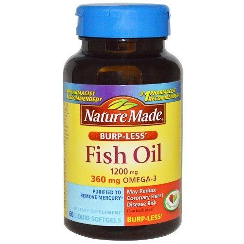 Nature made fish oil omega 3 burp less 1200 mg softgels for Nature made fish oil 1200 mg 360 mg omega 3