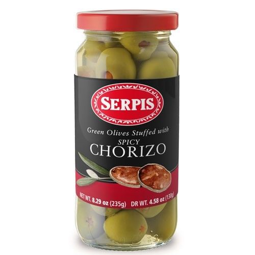 Serpis Green Olives Stuffed With Spicy Chorizo 8.29 oz Jar ...