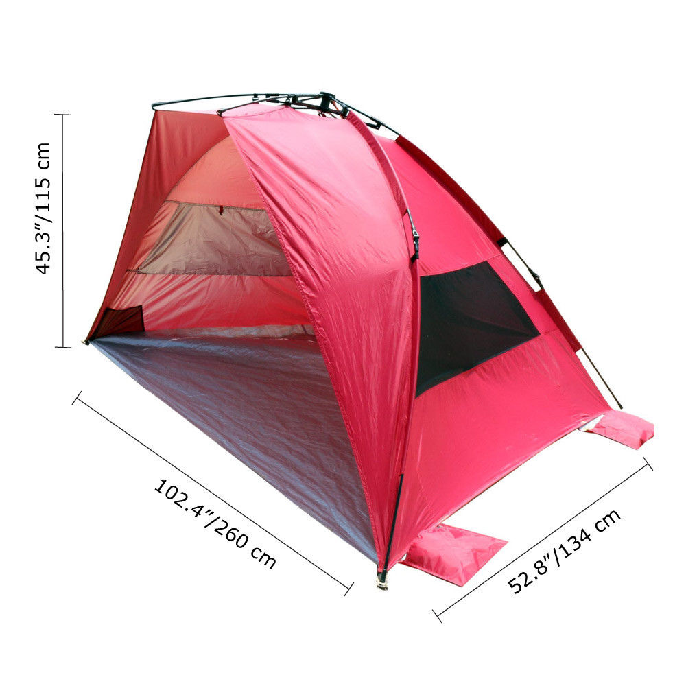 leader accessories easyup beach tent quick cabana pop up sun shelter red ebay. Black Bedroom Furniture Sets. Home Design Ideas
