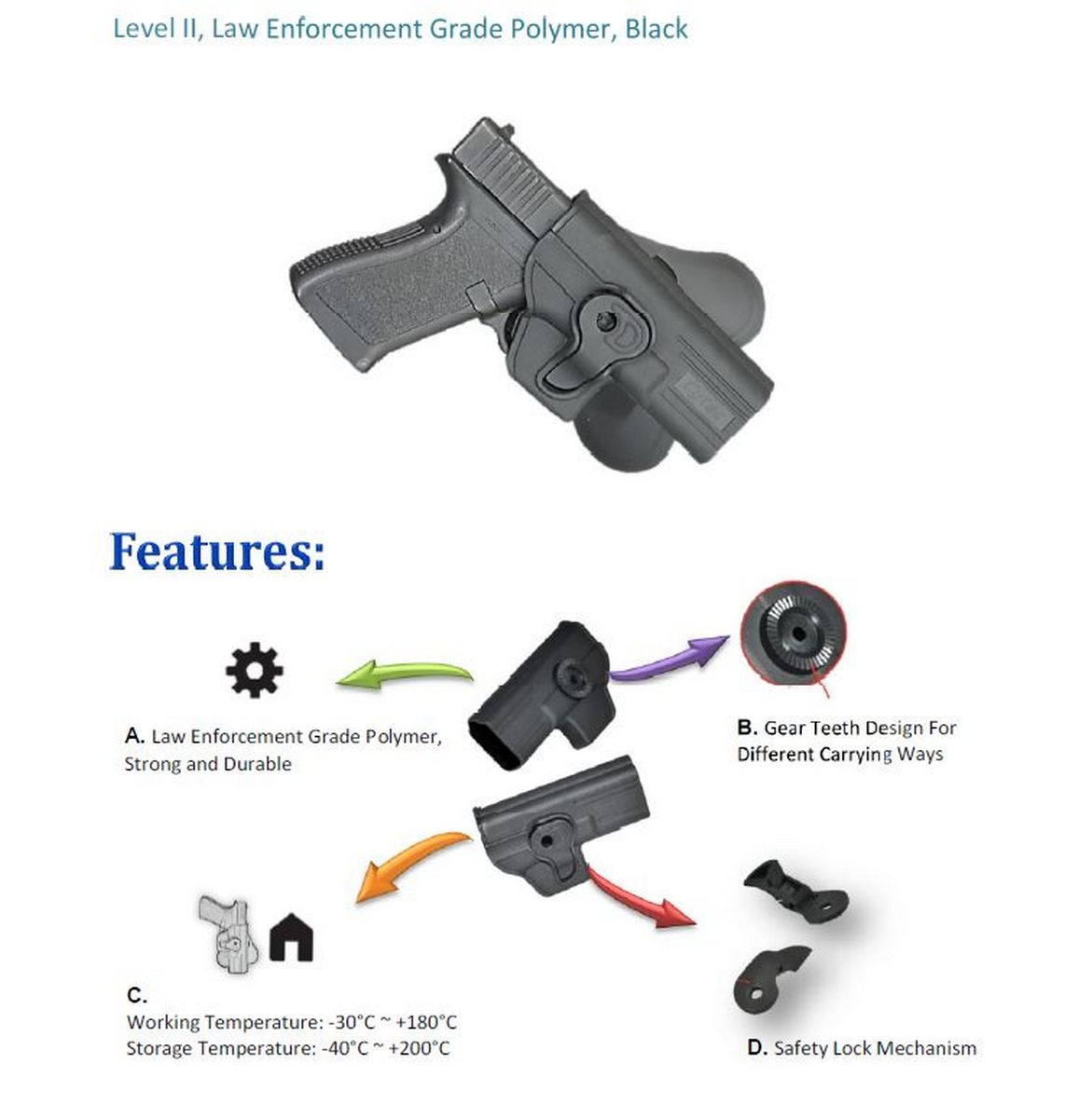 Tactical Scorpion Fits CZ 75SP-01 Shadow Level II Retention Paddle Holster