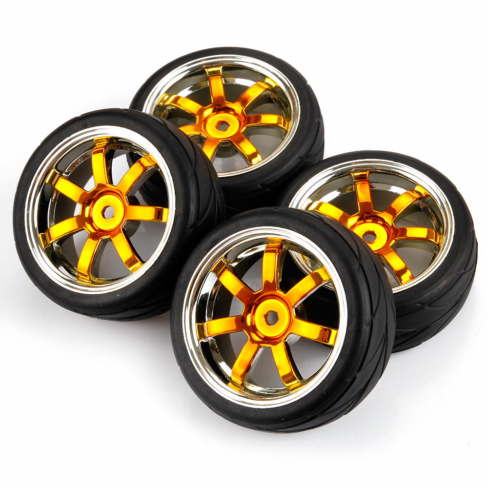 1 10 Rc Car Wheels : Gold plated rc car tires tyre wheel rims for hsp