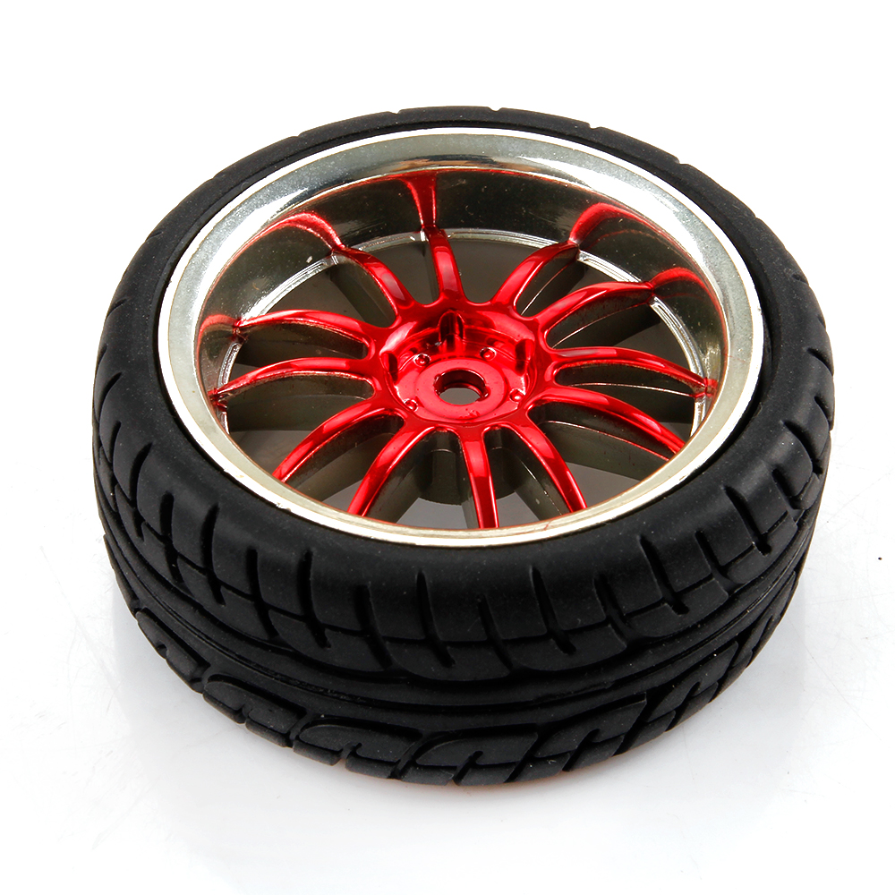 1 10 Rc Car Wheels : Red plated rc car tires tyre wheel rims for hsp