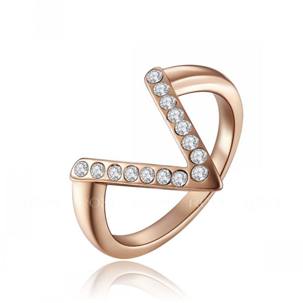 V Shaped Wedding Ring Wedding Women 39 S Fashion Rose Gold Plated EBay