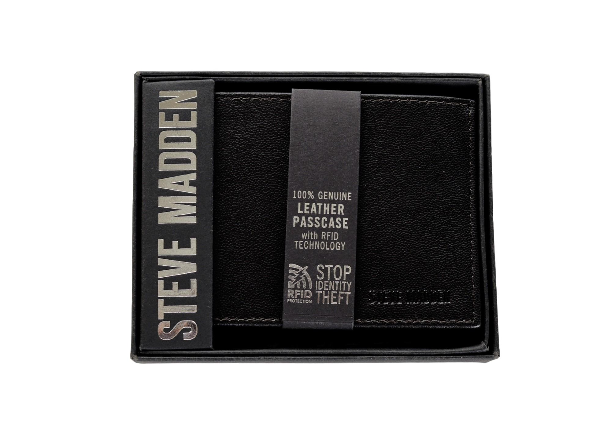 Steve Madden Mens Smooth Grain Leather RFID Blocking Passcase Wallet