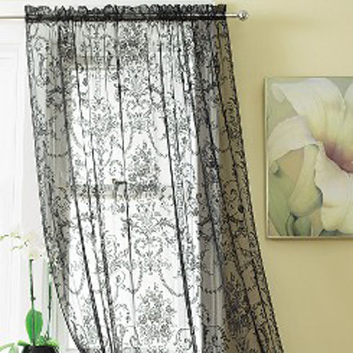 BOUQUET Slot Top Vintage Lace Window Panels / Net Curtains black ...