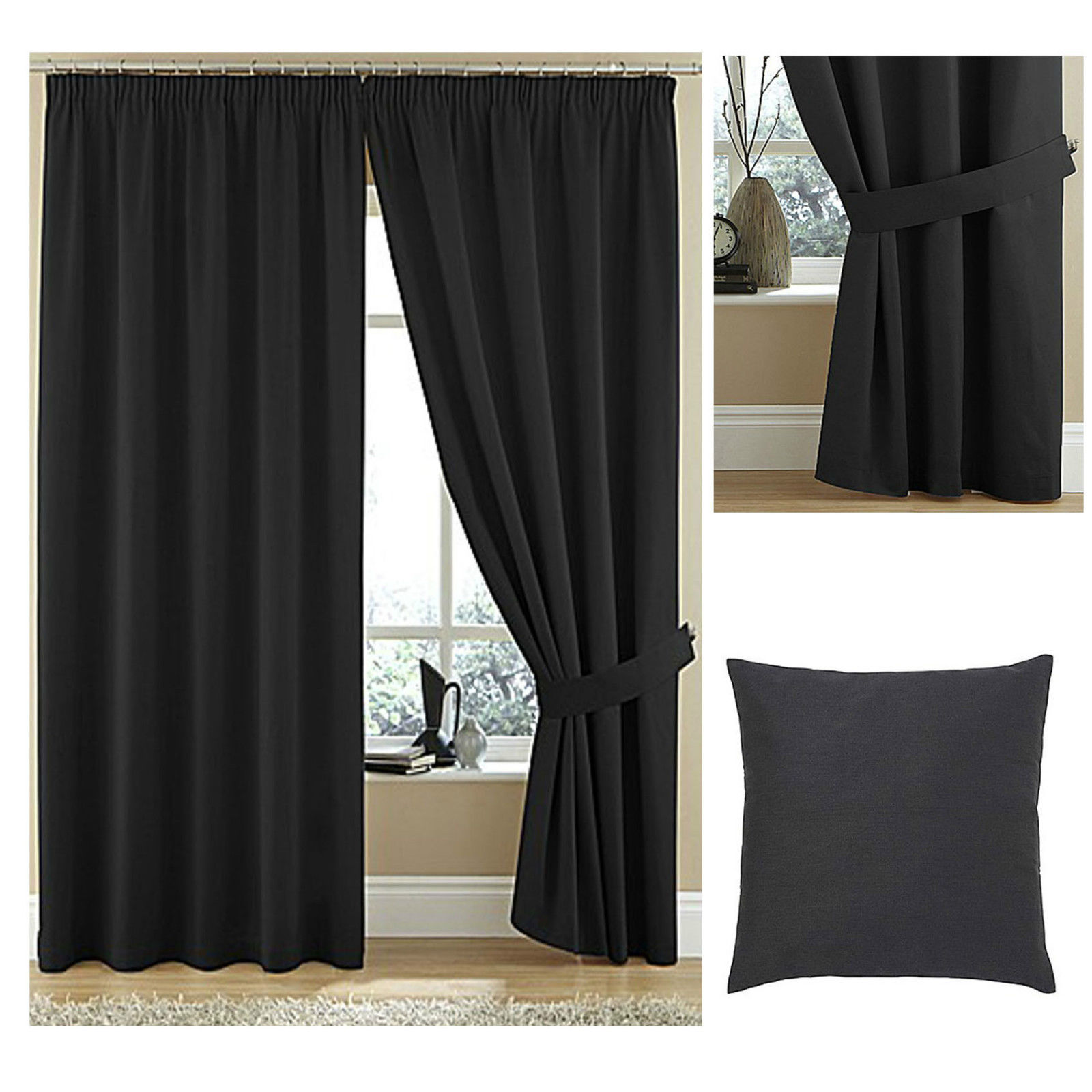 Twill High Quality Lined Pencil Pleat Curtains 100 Cotton Plain Dyed Textured Ebay