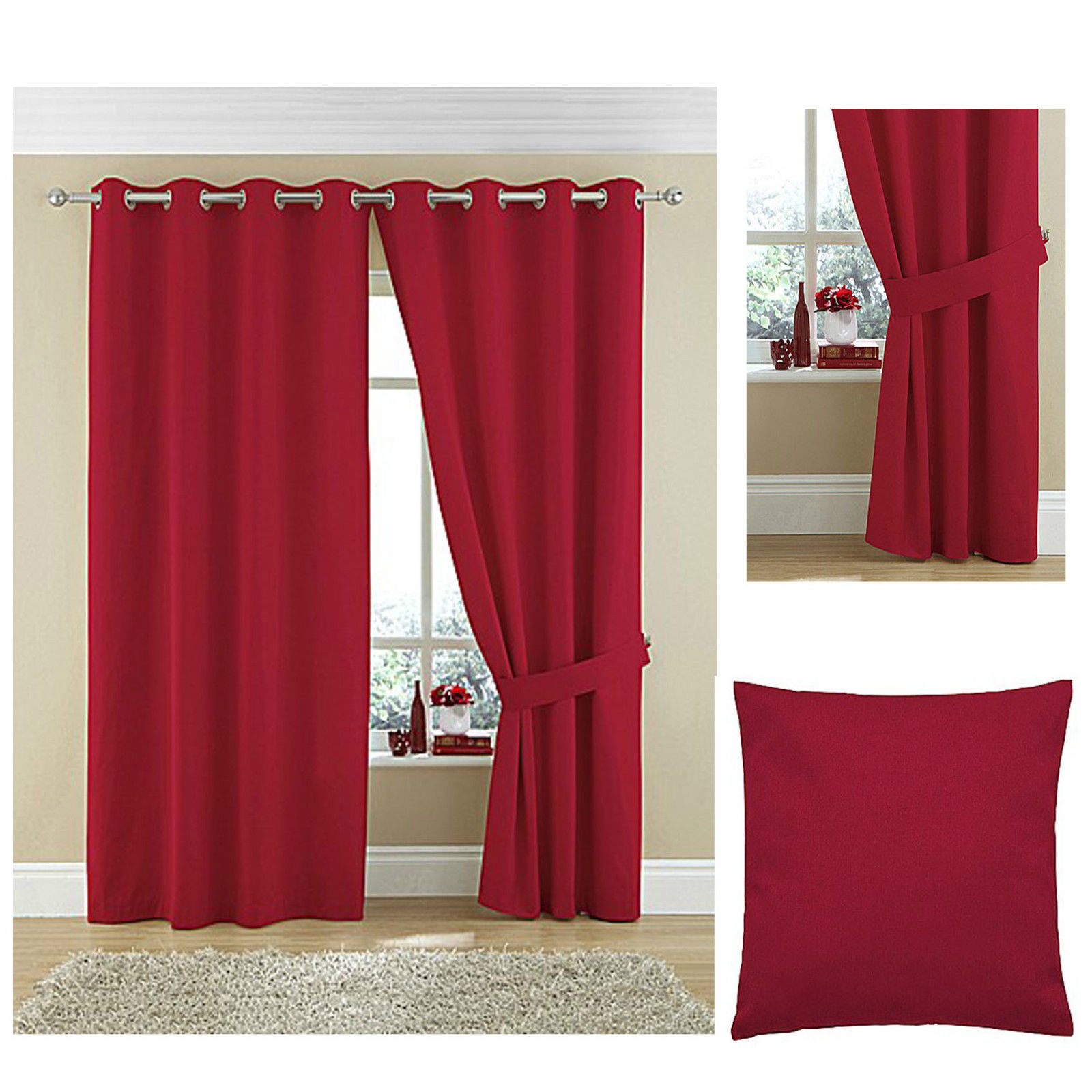 Twill Lined Ring Top Curtains 100 Cotton Plain Dyed Textured High Quality Ebay