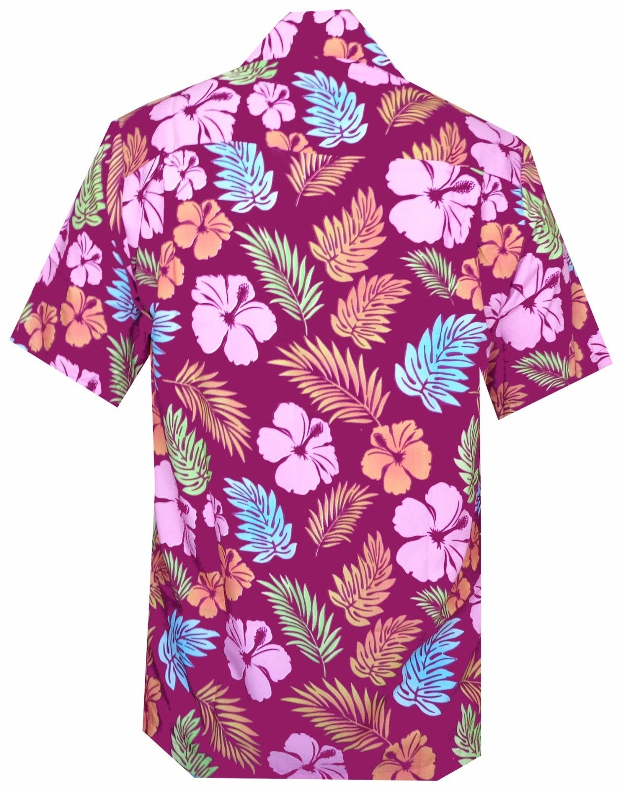 Hawaiian Shirt Mens Hibiscus Floral Leaf Print Beach Aloha