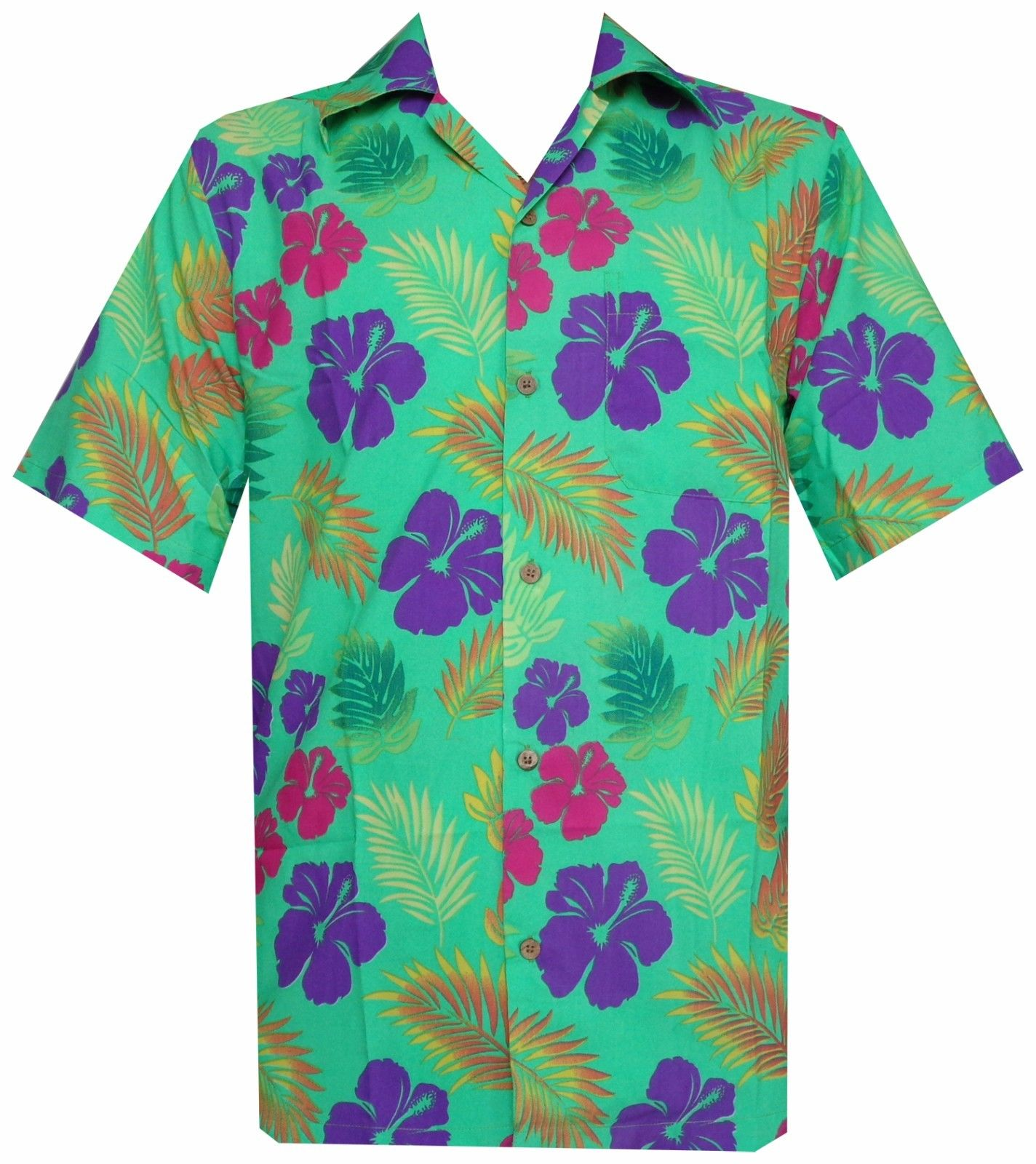 Hawaiian shirt mens hibiscus floral leaf print beach aloha for Lsu hawaiian print shirts