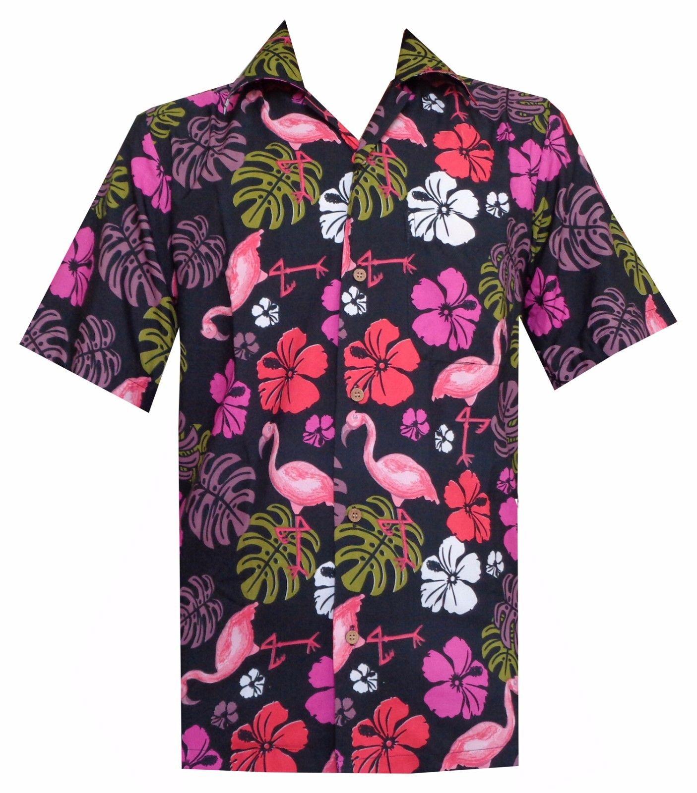 Hawaiian shirts mens flamingo leaf print beach aloha party for Lsu hawaiian print shirts
