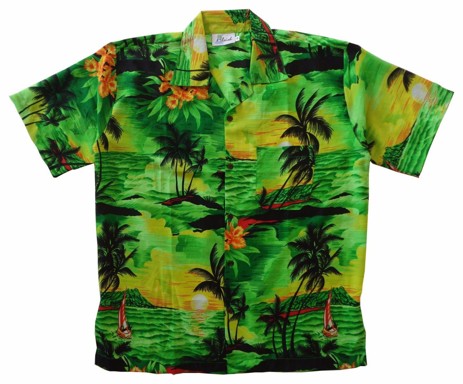 Hawaiian shirt mens allover print beach camp party aloha for Lsu hawaiian print shirts