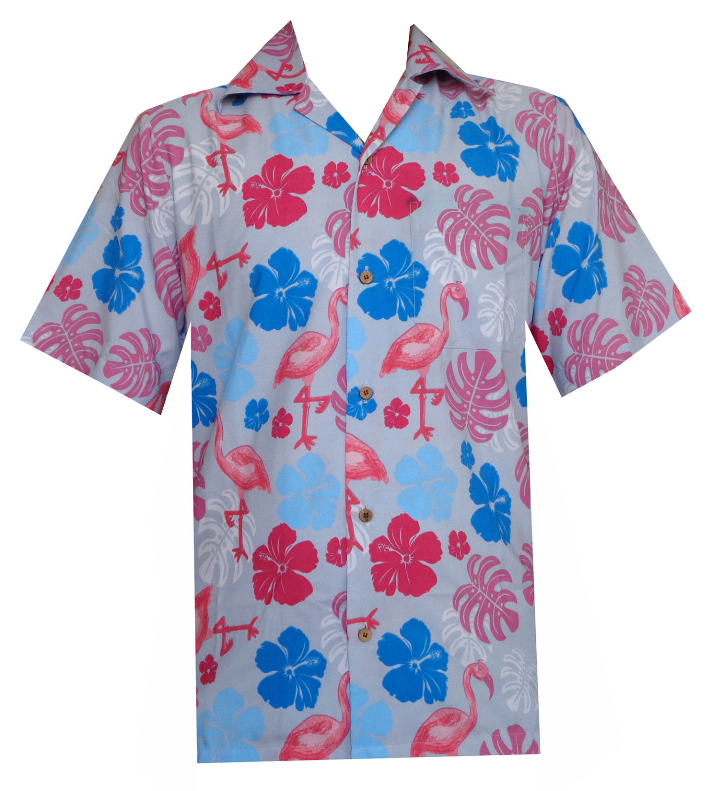 Hawaiian shirt mens flamingo leaf print beach aloha party for Lsu hawaiian print shirts