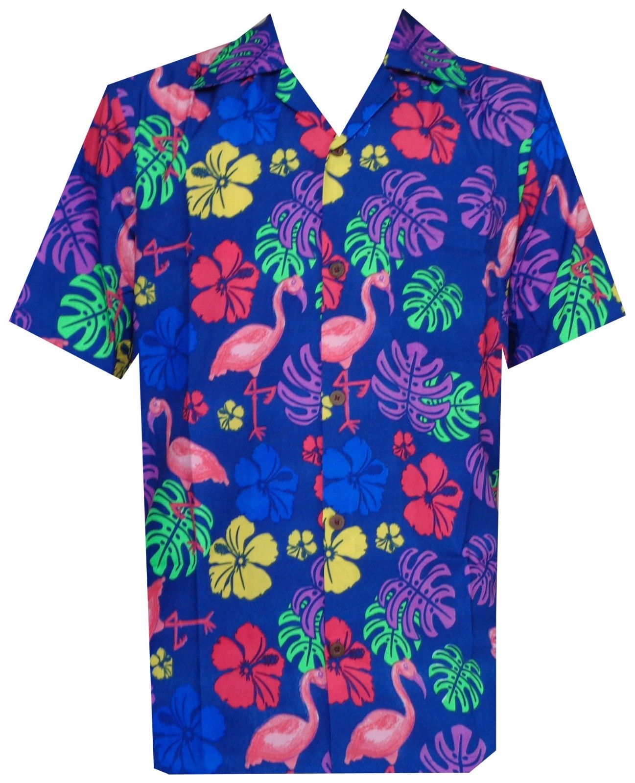Hawaiian shirt mens flamingo leaf print beach aloha party rich for Lsu hawaiian print shirts