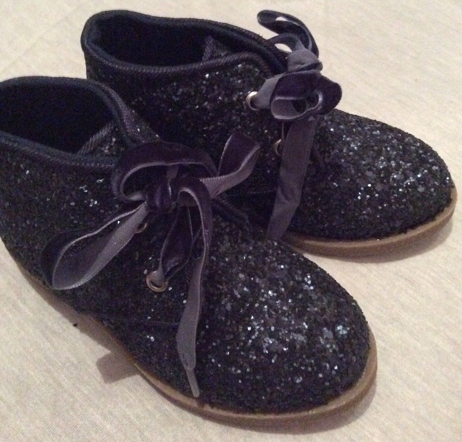 exm s lace up ankle boot shoe blue glitter size