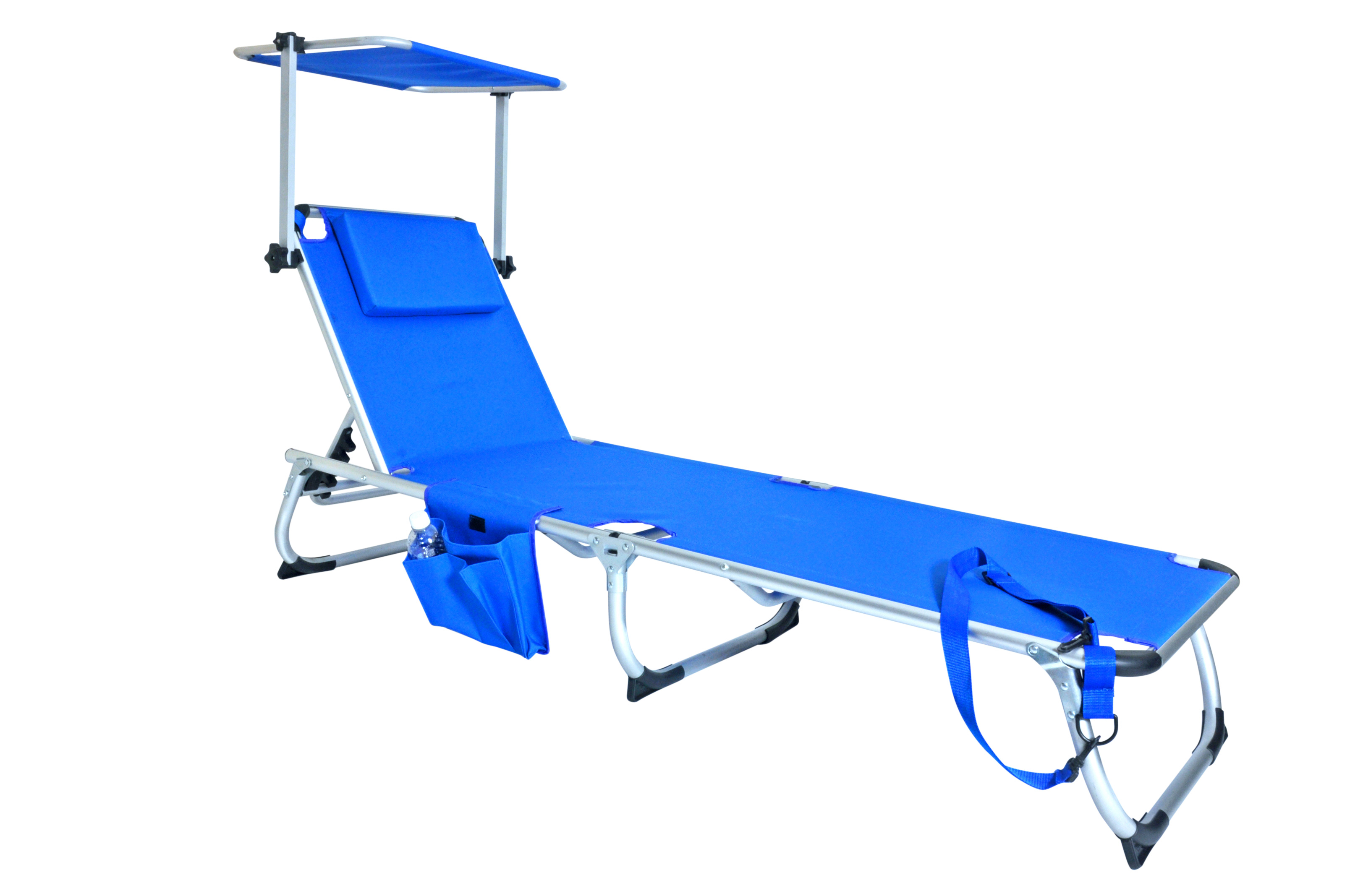 Deluxe 5 pos lay flat aluminum chaise lounger with for Chaise lounge canopy