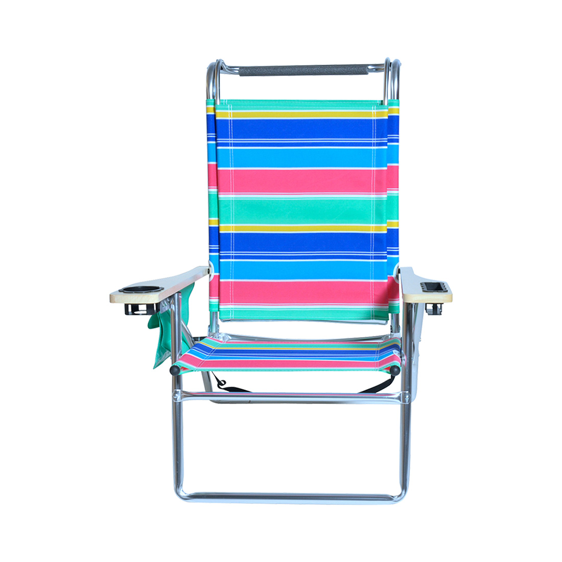 Deluxe 4 position Aluminum Beach Chair w Canopy & Storage Pouch
