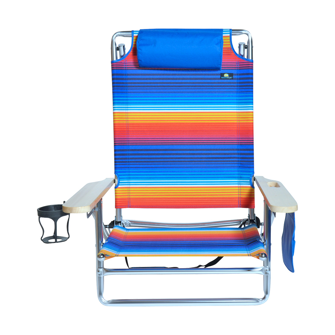 5 position Heavy Duty 300 lbs Lay Flat Beach Camping Chair Big & Tall