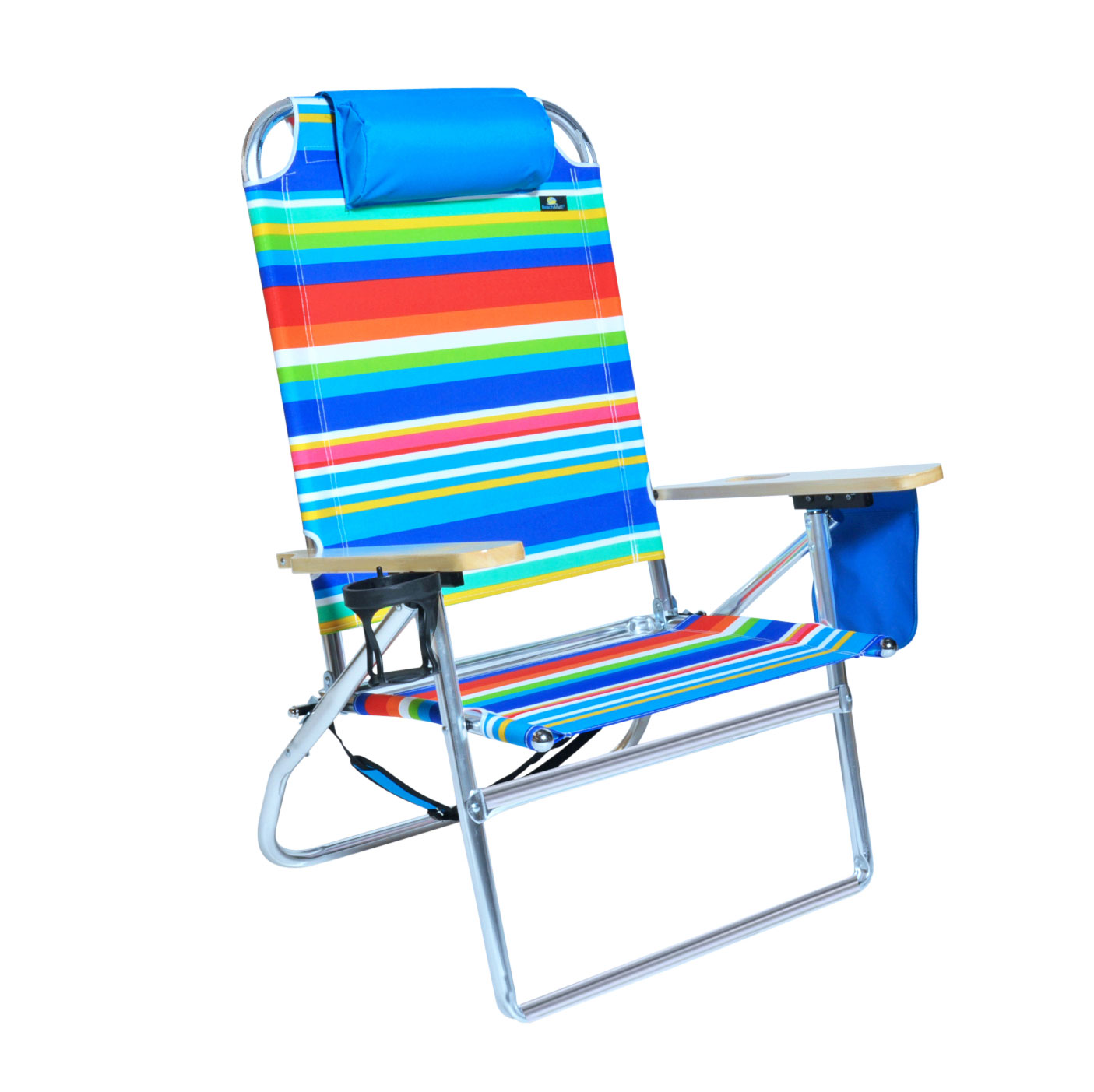 Extra High Seat Heavy Duty 4 Position Beach Chair w Drink Holder