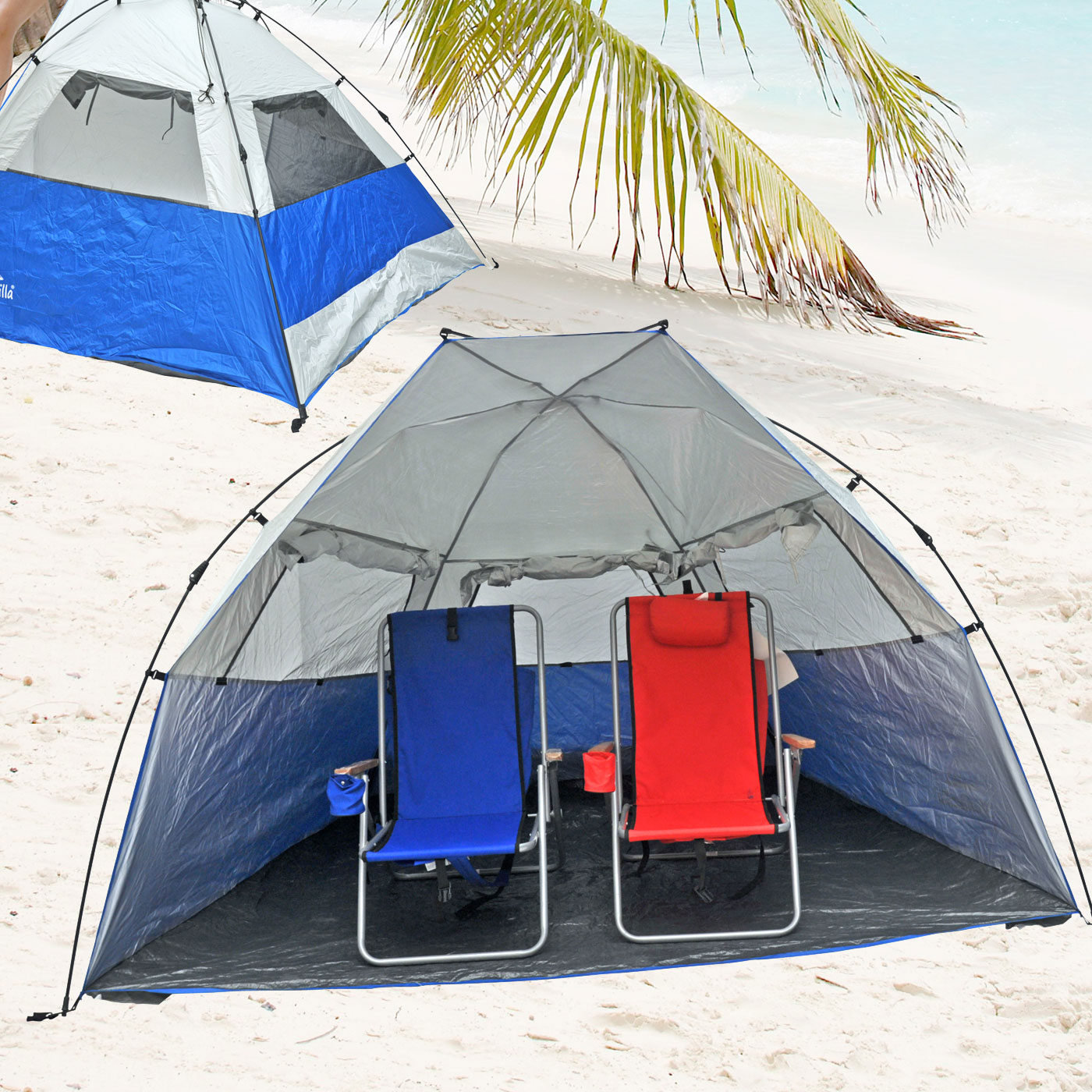 Portable Pop Up Shelters : Deluxe instant popup beach tent shelter cabana upf