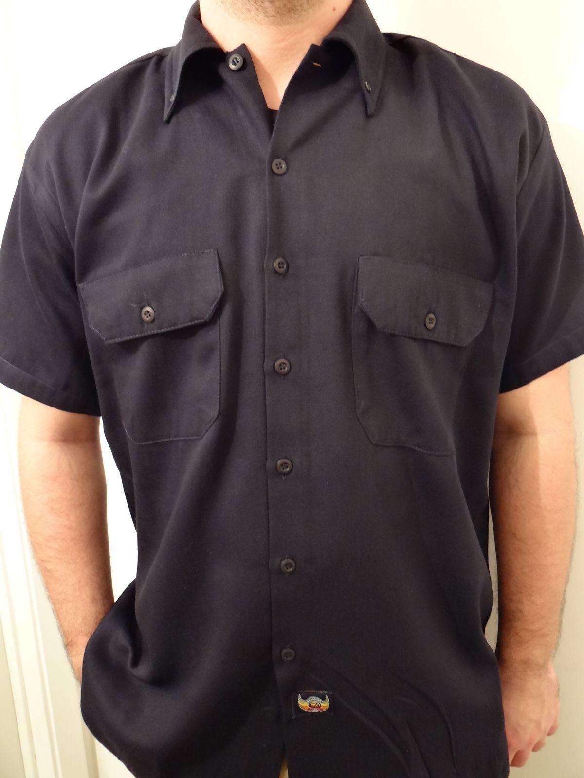 Men 39 s biker mechanic workshirt last stop motorcycle repair for Usa made work shirts