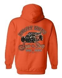 Biker Zip Up Hoodie Rusty Nuts Auto Shop Used Parts S M L