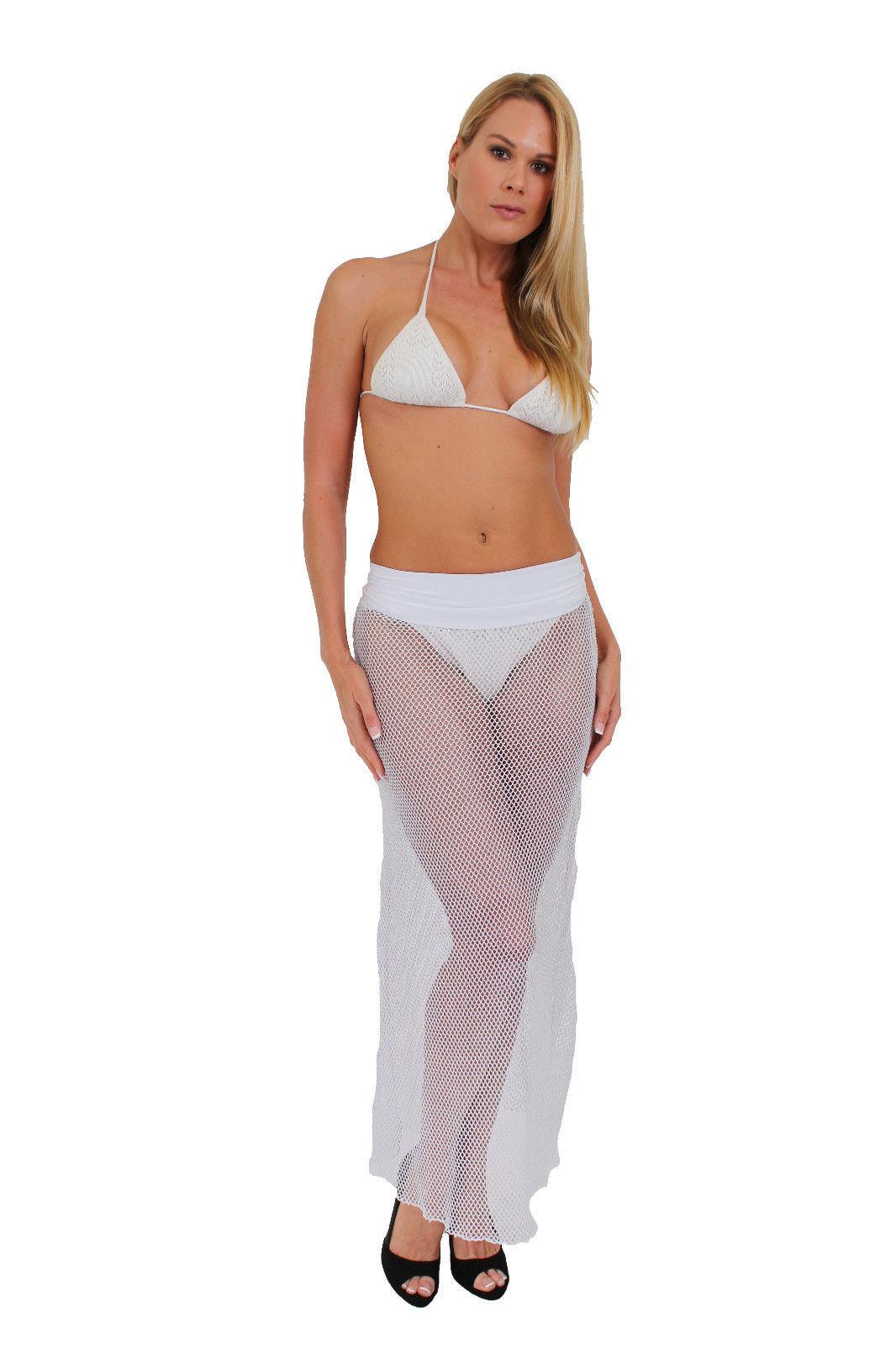 WOMEN'S JUNIORS SILVER TWO WAY CROCHET SKIRT DRESS COVER ...