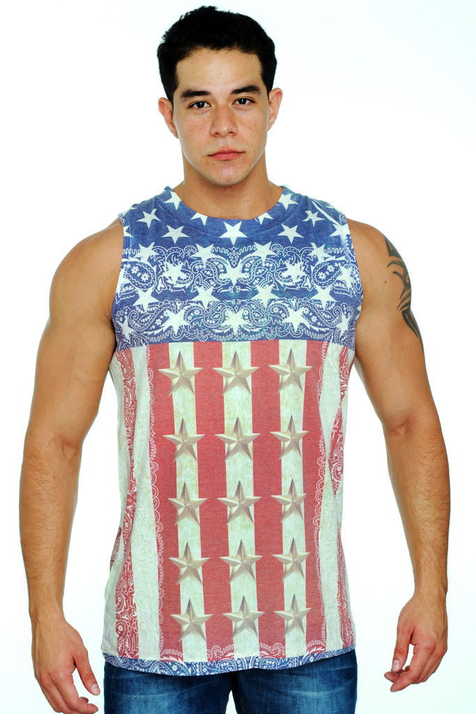 Men S Sleeveless Shirt Gold Stars And Stripes Usa Flag